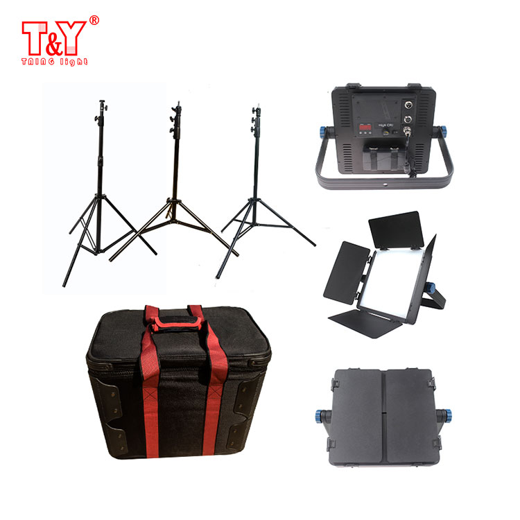 Portable 40W LED lights and stands kit with carrying case