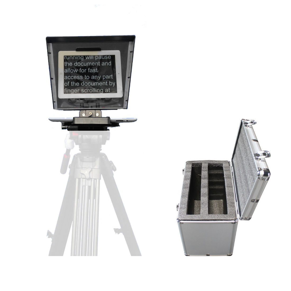 Portable Remoter Control iPad Teleprompter with Carrying Case