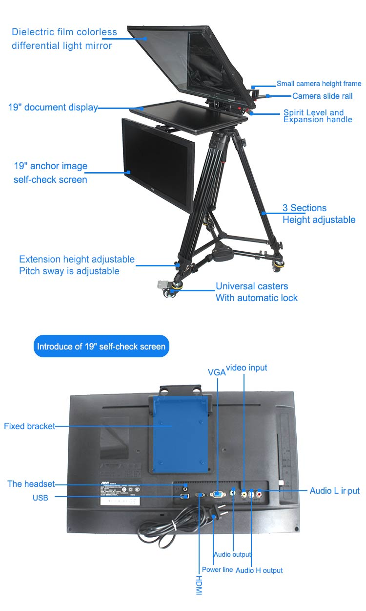 "TV Broadcast 19"" Studio Professional Teleprompter with Self-test Screen(图2)"