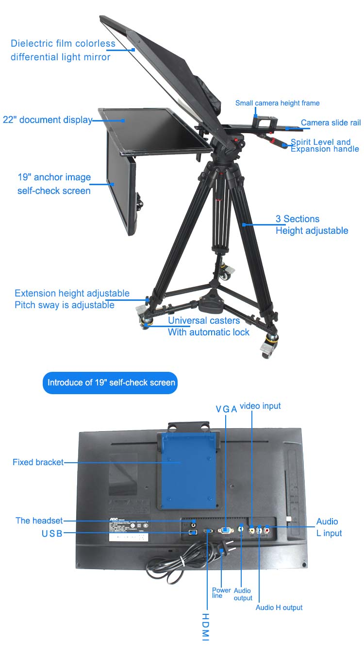 "TV Broadcast 22"" Studio Professional Teleprompter with Self-test Screen(图2)"