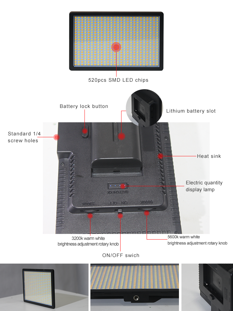 External battery bi-color 0-100% dimming DSLR camera panel light(图5)