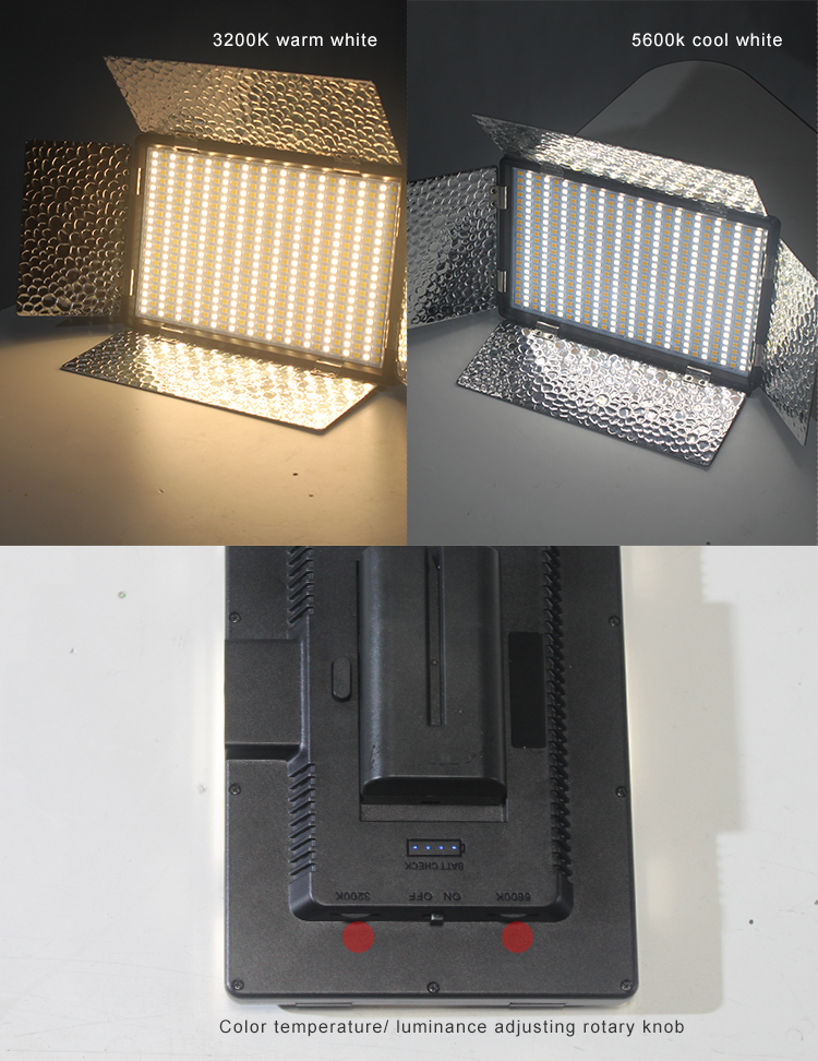 Bi-color dimmable DSLR camera LED video light with barndoor (图4)