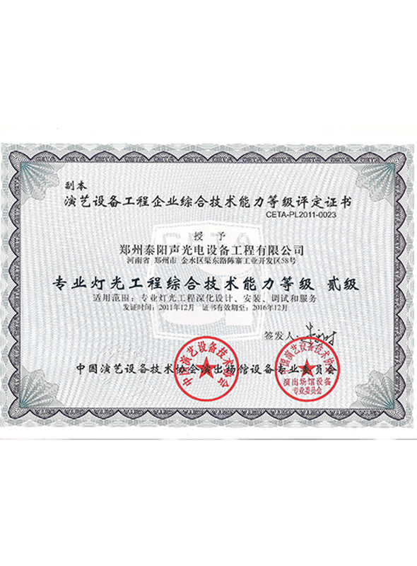 professional lighting certificate(图1)